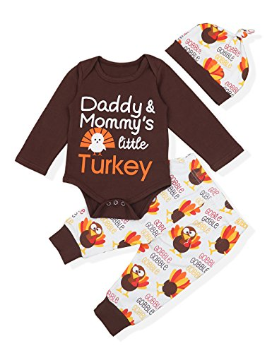 (Baby Thanksgiving Outfit Newborn Boy Girl Letter Print Romper Turkey Print Pant with Hat Clothes Set(3-6)