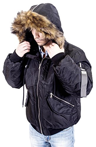 J. Whistler Mens Paratroop Flight Bomber Insulated Jacket Hooded Coat Black XL