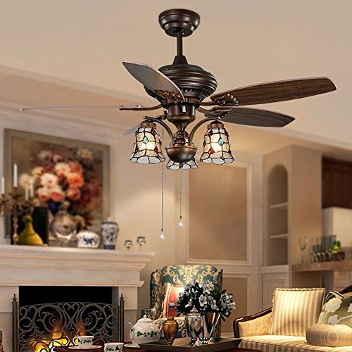 tropicalfan vintage ceiling fans with 3 water drop light cover home decoration living room simple mute - Vintage Ceiling Fans