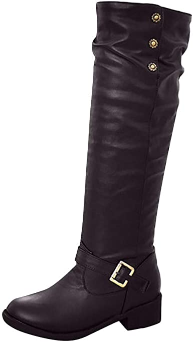 QIUSge Women Ladies Retro Low-Heeled Boots Buckle Add Cotton Long Tube Knight Shoes Brown