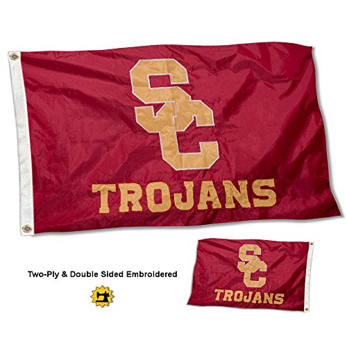 (College Flags and Banners Co. USC Trojans Double Sided Nylon Embroidered Flag)