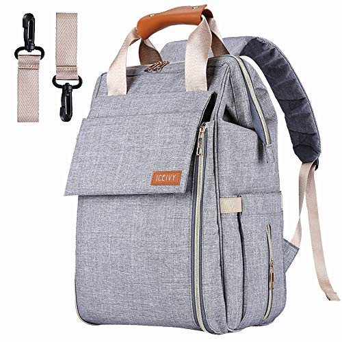 Baby Diaper Bag Backpack, Baby Bag,Multi-Function Waterproof Travel Nappy Bag for Baby Care, Large Capacity, Durable and Stylish Changing Bag for Mom and Dad with Changing Pad (B Grey)
