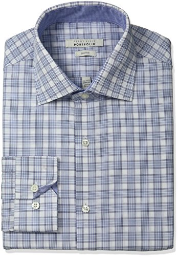 Perry Ellis Men's Slim Fit Wrinkle Free Glen Plaid Dress Shirt With Adjustable Collar, Blue/White Glen Plaid, 16.5