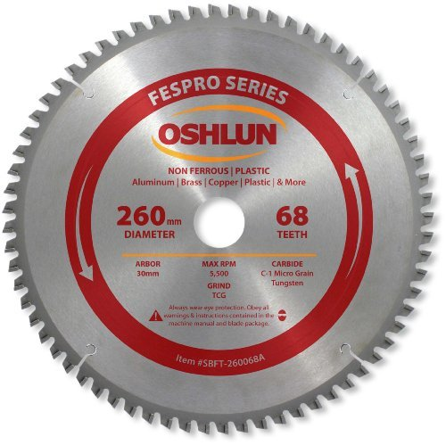 Oshlun SBFT-260068A 260mm 68 Tooth FesPro Non Ferrous TCG Saw Blade with 30mm Arbor for Festool Kapex KS 120 [並行輸入品] B078XLF4VF