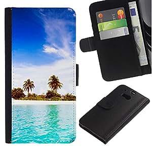 YiPhone /// Tirón de la caja Cartera de cuero con ranuras para tarjetas - Blue Water White Sand - HTC One M8