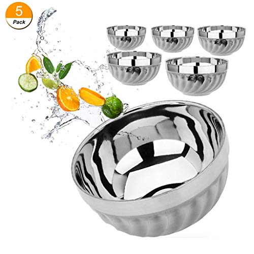 - stainless steel bowls kids Set of 5 Double-walled Insulated Metal Snack Bowls( 12oz,13oz,14oz,15oz,16oz )Set of 5 walled Insulated Baby Serving Bowls