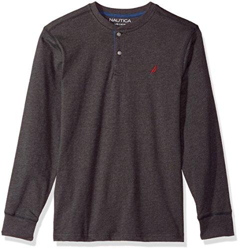 Nautica Little Boys' Long Sleeve Jersey Henley , Charcoal Grey , 4