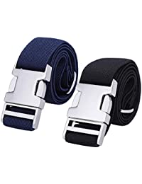 ec06d2118e4e Boys Adjustable Stretch Belt for Kids - 2PCS Zinc Alloy Childrens with Easy  Clasp Belt for