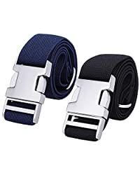 Boys Adjustable Stretch Belt for Kids - 2PCS Zinc Alloy Childrens With Easy Clasp Belt for Toddlers Boys Girls(Black/Navy Blue)