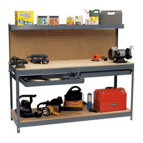 Garage Workbench With Pegboard Storage Shelf Drawers- This 6' Monster Stell Worktable Has It All- Storage Organizational Shelves Drawers For Tools Projects- Metal Durable Functionable Extra Strong by EDSAL