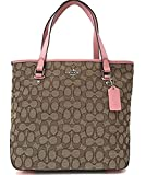 Coach Outline Signature Zip Top Tote Shoulder Bag In Khaki Brush