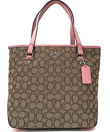 Coach Outline Signature Zip Top Tote Shoulder Bag In Khaki Brush by coach