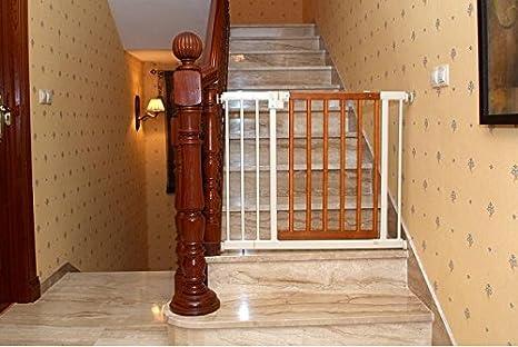 Barrera de seguridad para escaleras y puertas, de metal y madera, seguridad para el bebé: Amazon.es: Bebé