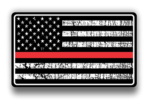 - Fire Dept Red Thin Line USA Flag Decal American Flag Sticker Grunge Distressed Red Stripe for Cars and Trucks for Honor and Support of Our Fire Fighters Vinyl Window Bumper 5 X 3