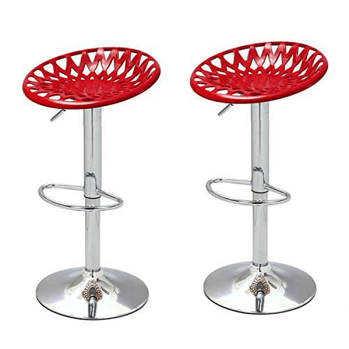 Steel 9 Piece Chili - Adeco 360 Degree Adjustable Height Bar Counter Seat Stools - Set of 2 - Chili Red