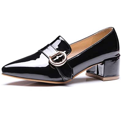 40a0eb1a679 GIY Women s Pointed Toe Oxford Loafers Shoes Wingtip Slip-On Buckle Chunky  Mid Block Heel