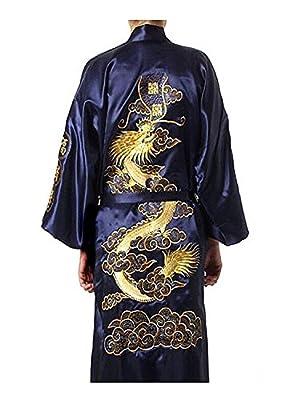 pamor Mens Robe Chinese Dragon Pattern Kimono Bathrobe with Waistband