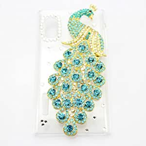piaopiao bling 3D hot clear case peacock diamond crystal hard back cover for LG Optimus L5 e610 e612 (light blue)