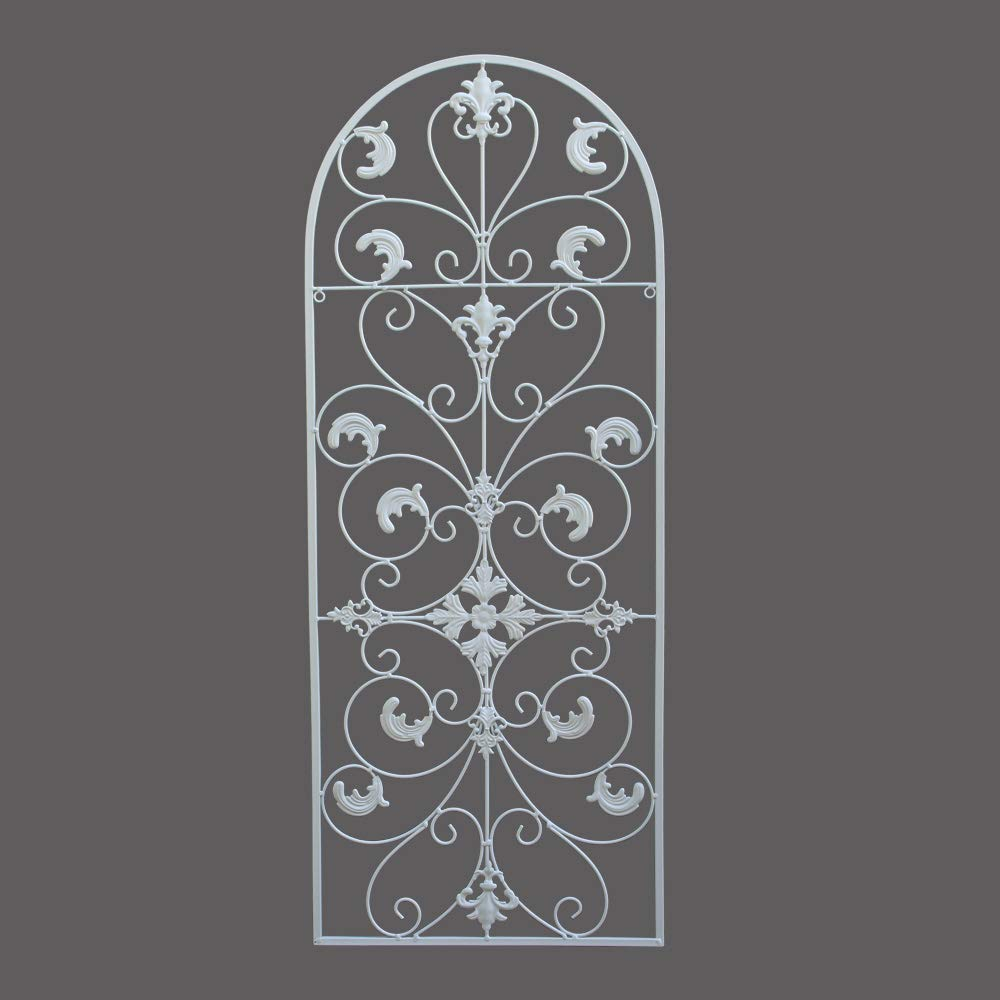 gbHome GH-6777W Metal Wall Decor, Decorative Victorian Style Hanging Art, Steel Décor, Window Arch Design, 16.5 x 41.5 Inches, White