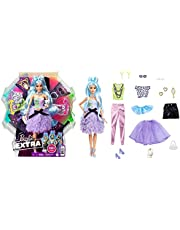 Barbie GYJ69 - Extra Luxe Pop met Blauw Haar, Modewiel met 30 Combinaties, Leeftijd 3+