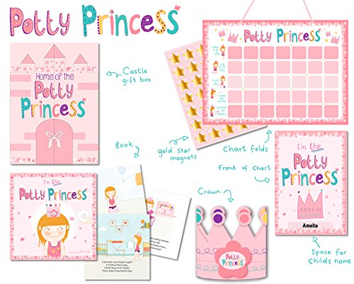 princess potty training gift set with book potty chart star magnets and reward crown for toddler girls