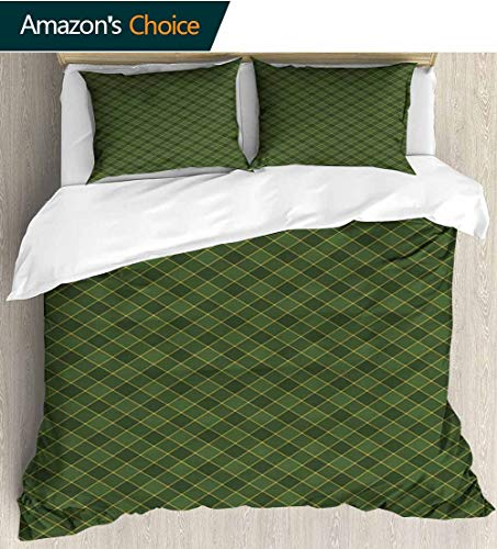 - shirlyhome Green 3pcs Duvet Cover Sets,Traditional Old Fashioned Argyle Pattern Retro Style Plaid Kids Bedding - Double Brushed Microfiber 104
