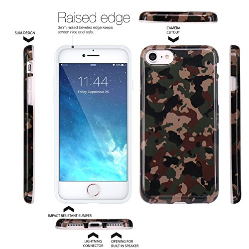 iPhone 7 Hülle, JIAXIUFEN Brown Camouflage Camo Design schlanke stoßfeste flexible TPU Soft Case Gummi Silikon Skin für Apple iPhone 7