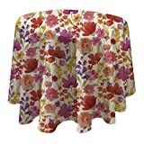"""Elrene Home Fashions 39323MLT Vinyl Tablecloth with Polyester Flannel Backing Floral Gardens Easy Care Spillproof, 60"""" Round, Multicolor"""