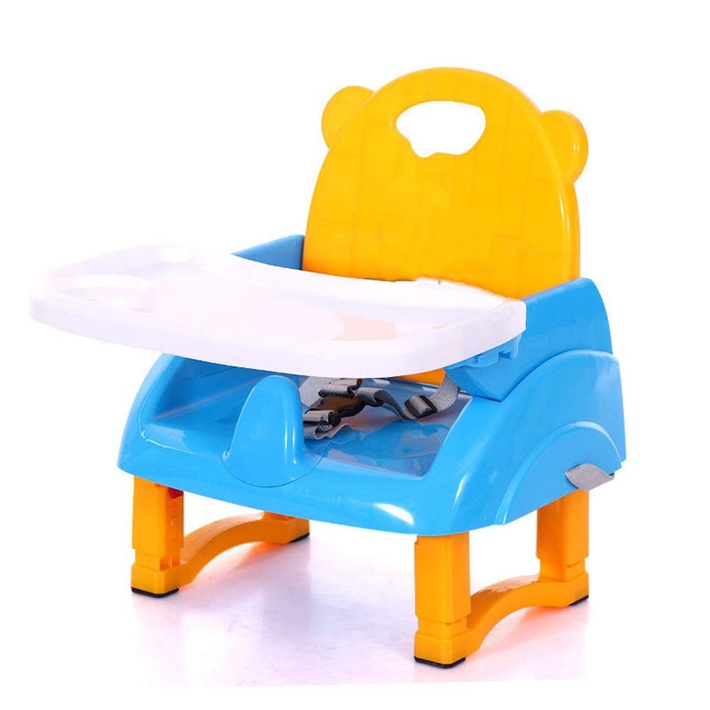 Kids' Desk & Chair Sets Feeding Dinning Chair Baby Infant Foldable High Chair Removable Tray Height Adjustable Travel Booster Seat (Color : Blue, Size : 403048cm) by Liuxina
