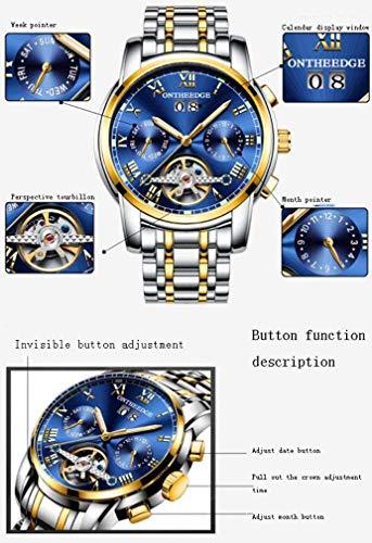 tewun män Tourbillon helautomatiska mekaniska klockor mode sportklocka rostfritt stål armband vattentätt 30 m med kronograf och kalender mode klänning armbandsur