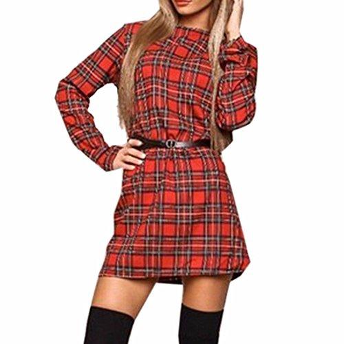 Tela escocesa de la moda imprimir basar delgado vestidos flojos ocasionales del mini vestido de senora Rojo