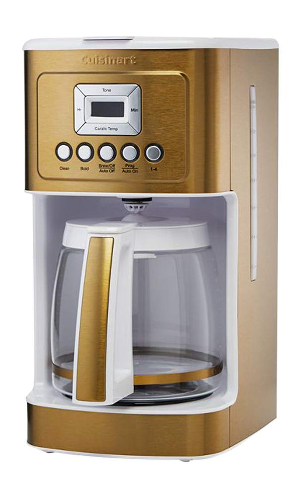 Cuisinart DCC-3200 14 Cup Glass Carafe with Stainless Steel Handle Programmable Coffeemaker, White/Gold