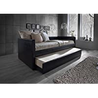 Baxton Studio Risom Modern & Contemporary Platform Base Faux Leather Upholstered Daybed Bed Frame with Trundle, Twin, Black