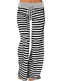 Women's Stretch Comfy Striped Wide Leg Drawstring High Waist Palazzo Pajama Sport Pants