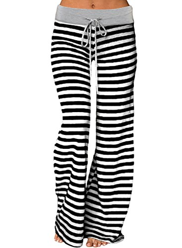 Striped Lounge Pants (Young17 Women's Stretch Comfy Striped Wide Leg Drawstring High Waist Palazzo Pajama Sport Pants, Black, Medium=US 4)