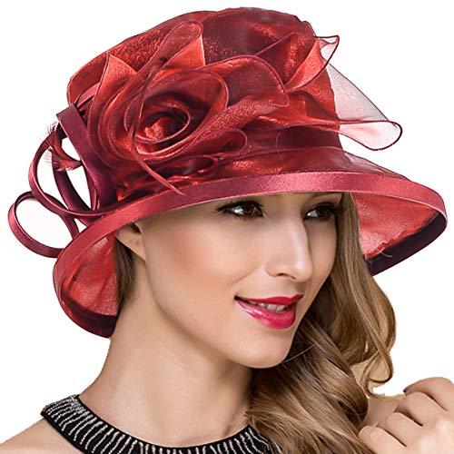 Lady Church Derby Dress Cloche Hat Fascinator Floral Tea Party Wedding Bucket Hat S051 (S043-Claret)