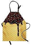 ice cream apron - Ambesonne Ice Cream Apron, Waffle Chocolate Flavor Dessert Delicious Yummy Backdrop Stylish Graphic, Unisex Kitchen Bib Apron with Adjustable Neck for Cooking Baking Gardening, Dark Brown Mustard