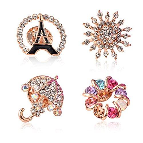 - Sewanz Women's 4 Pcs Rhinestone Brooch Pins Set,Collar Decorations Gift for Wedding Party