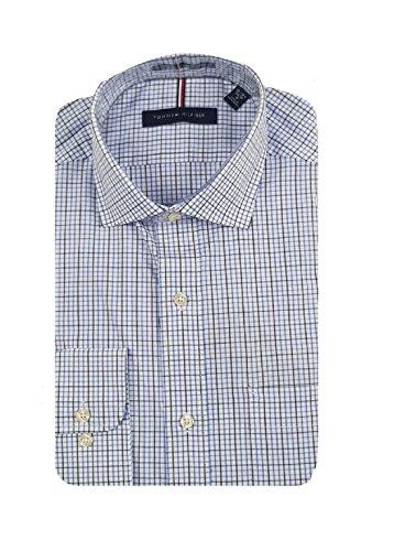 (Tommy Hilfiger Men's Regular Fit Long Sleeves Shirt (Blue Plaid, 16-16.5 x 34/35))