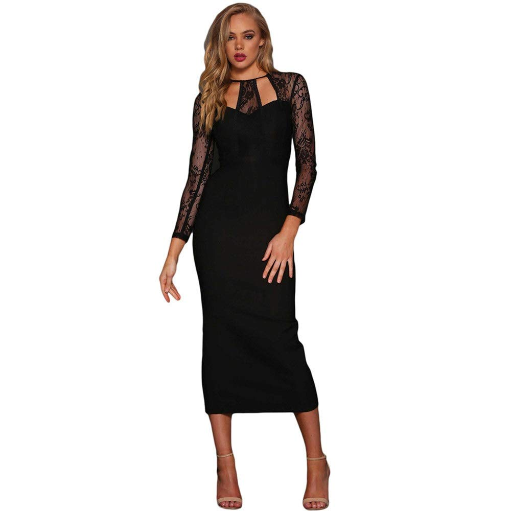 Black Women's Evening Dress Women O Neck Sheer Floral Lace Long Sleeve Evening Prom Solid Back Slit Formal Fit Stretchy Midi Dress Bodycon Dress (color   Black, Size   S)