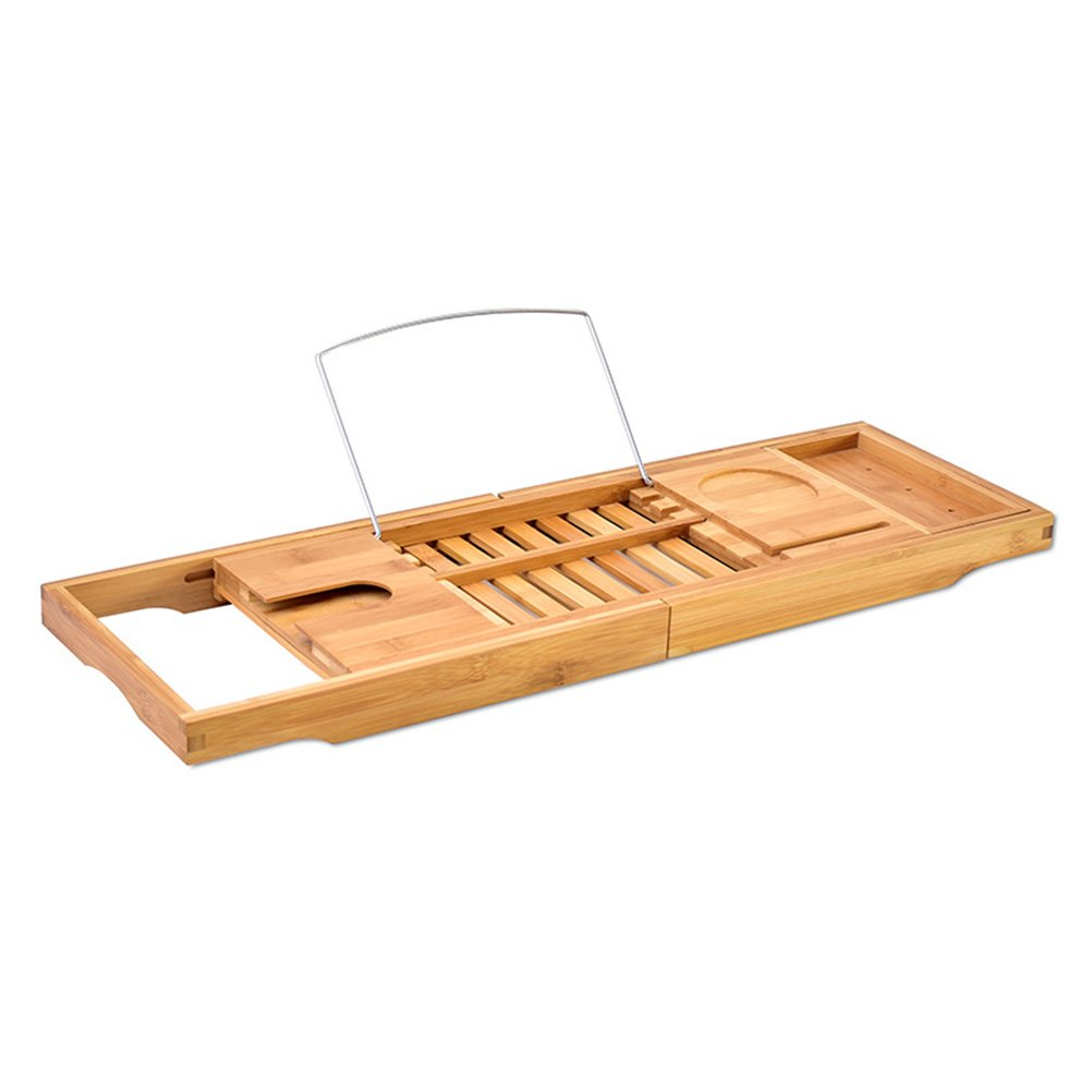 BESTOMZ Bamboo Bathtub Caddy Bathroom Organizer with Extending Sides for Cell Phone Book iPad Soap