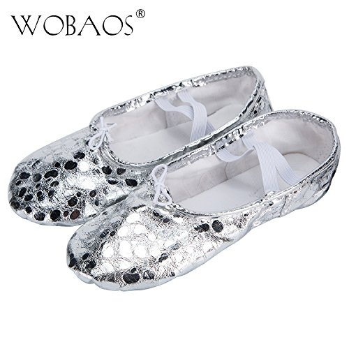 WOBAOS Pu Ballet Dancing Shoes with Split Soft Sole (Little Kid 13 M, Shining /Silvery) (Little Girl Belly Dancing Costumes)