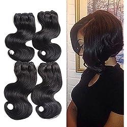 "Brazilian Body Wave 4 Bundles 8"" Inch Short Human Hair Extensions 7A Grade Virgin Brazilian Hair 50g/Pcs Total 200g 1B# (8 8 8 8, 1B#)"