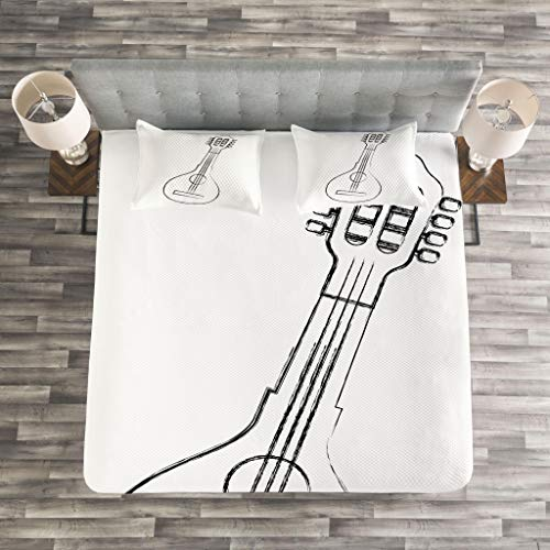Lunarable Mandolin Bedspread Set King Size, Traditional Country Music Themed Art Sketchy Equipment Festival Celebration, Decorative Quilted 3 Piece Coverlet Set with 2 Pillow Shams, Black White by Lunarable (Image #2)