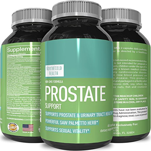 Prostate Support Prostate Supplement For Men + Natural Formula With = Saw Palmetto + Vitamin E + Amino Acids + Pygeum-100% Pure & Reduce Symptoms = Frequent Urination & Hair Loss-By Northfield Health