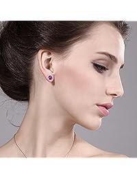 1.00 ct ronda 5 mm púrpura Amethyst Gemstone Birthstone 925 plata esterlina Stud arete de la mujer