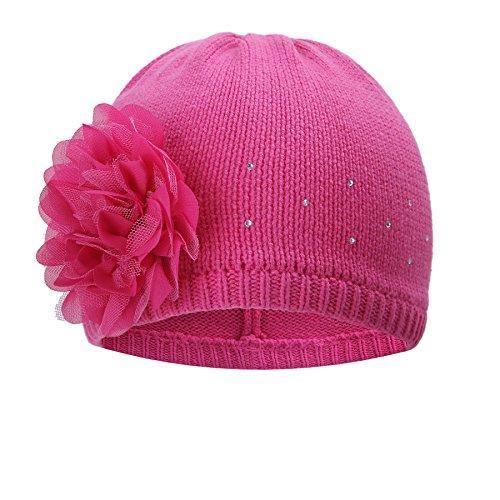 Tou Girls Winter Flower Hats Diamante Princesses Hats Crochet Caps 1-7t