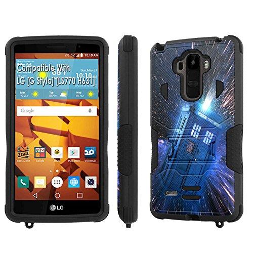 LG [G Stylo] Tough Case [SlickCandy] [Black/Black] Hybrid Combat [Kick Stand] [Shock Proof] Phone Case - [Tardis] for LG [G Stylo] [LS770 H631] -  SlickCandy for LG [G Stylo], P-LGLS770-1E1-BKBK-VRI-P068
