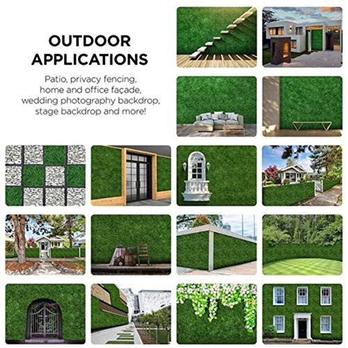 Artificial Boxwood Panels Topiary Hedge Plant Privacy Screen Outdoor Indoor Use Garden Fence Backyard Home Decor Greenery Walls Pack Of 12 Pieces 20 X 20 Green Pricepulse