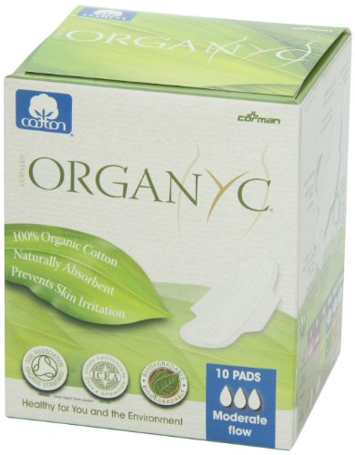 Organyc 100% Organic Cotton Pads with Wings for Sensitive Skin, MODERATE, 10 count